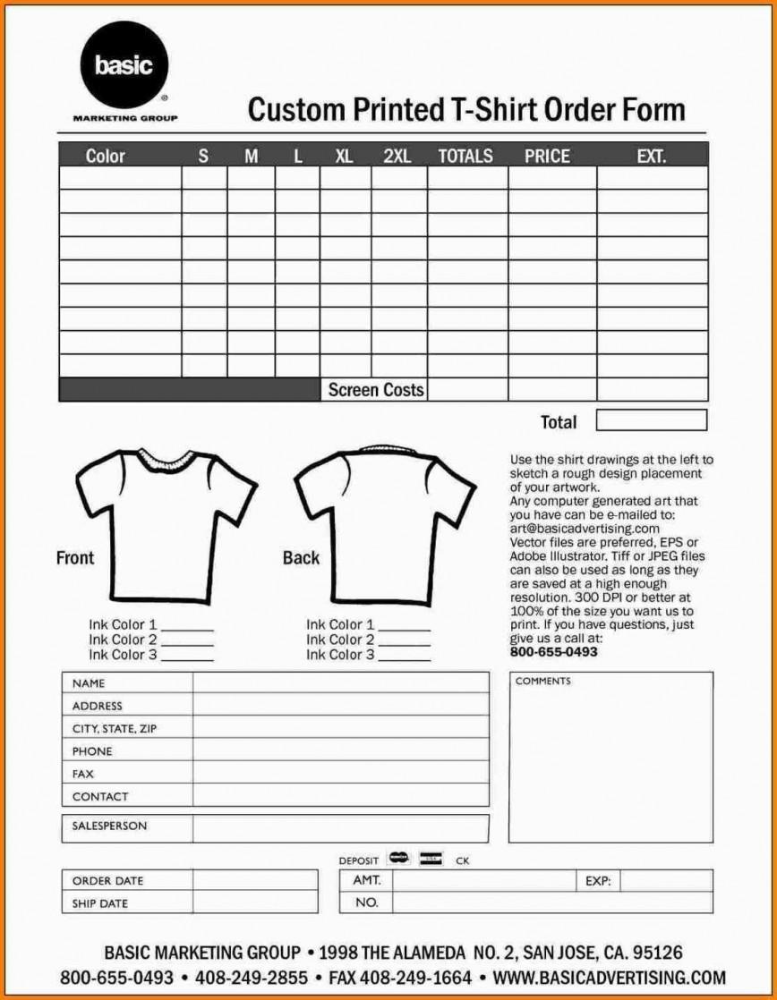 000 Shocking Shirt Order Form Template High Def  Templates T Excel Free Custom Team