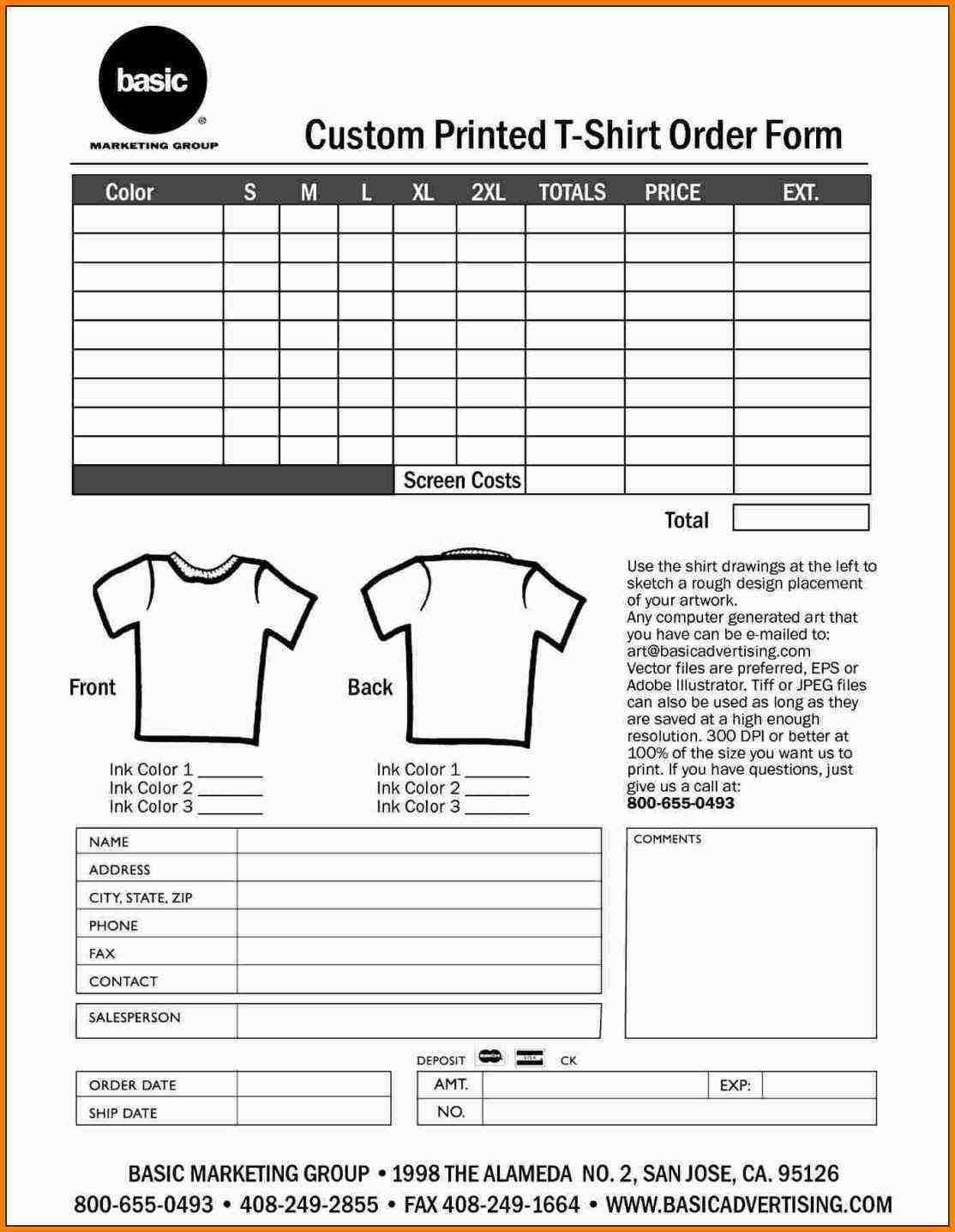 000 Shocking Shirt Order Form Template High Def  Templates T Microsoft Word Excel Download TeeFull