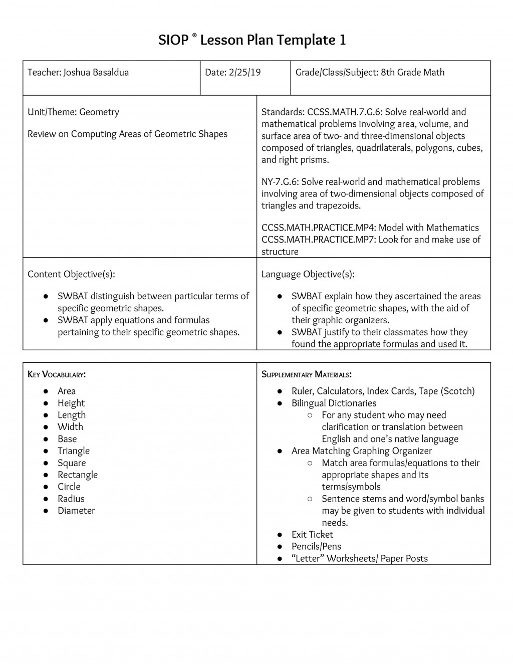 000 Shocking Siop Lesson Plan Template 1 Example High Resolution Large