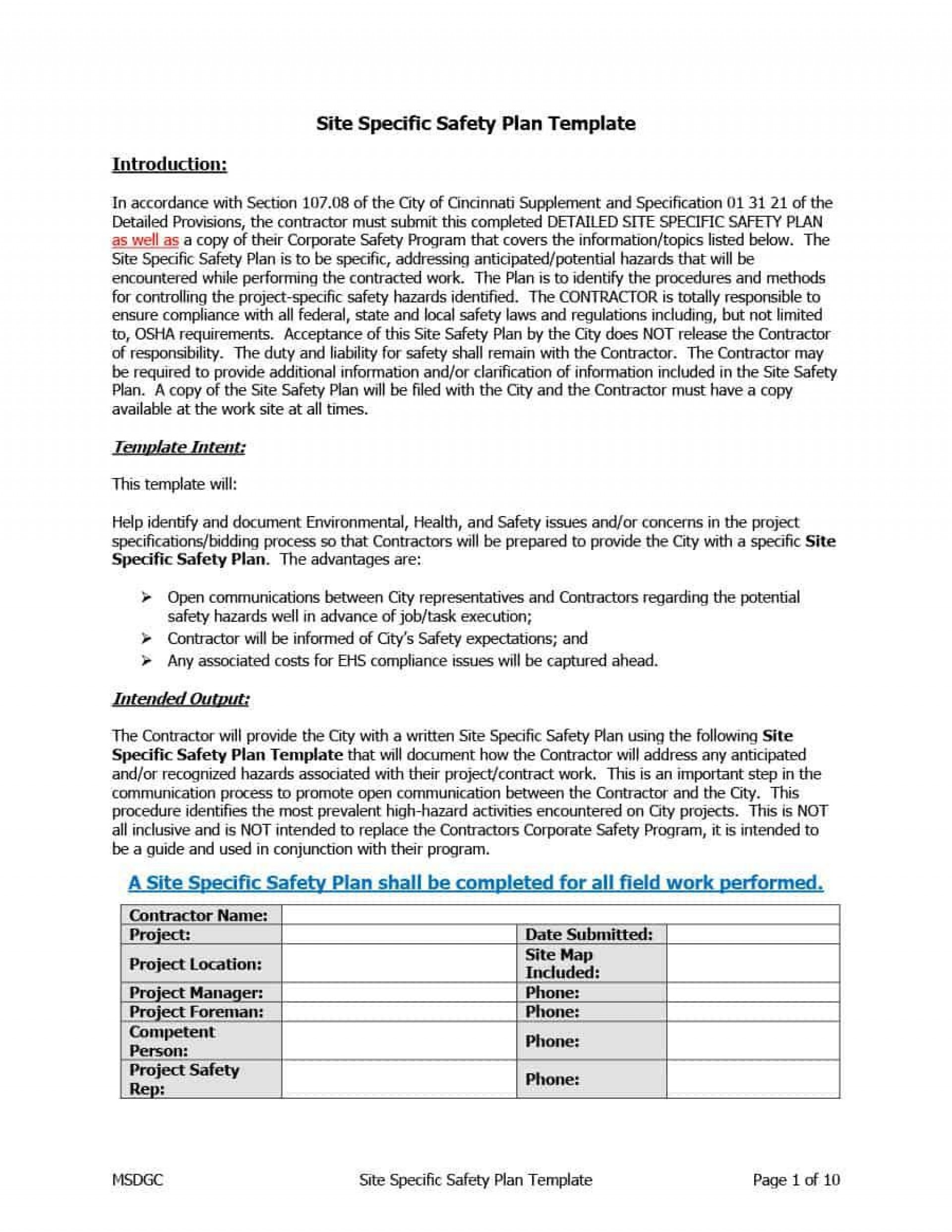 000 Shocking Site Specific Safety Plan Template High Resolution  Construction Example Word Doc Nz1920