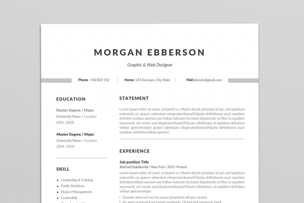 000 Simple 1 Page Resume Template High Def  Templates One Basic Word Free Html DownloadLarge