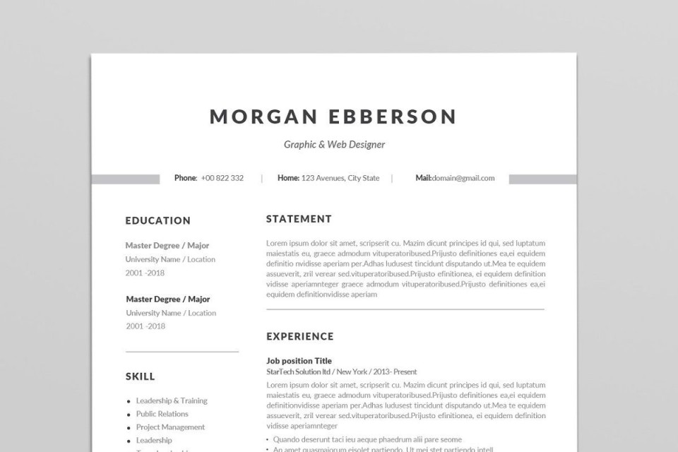 000 Simple 1 Page Resume Template High Def  One Microsoft Word Free For Fresher960