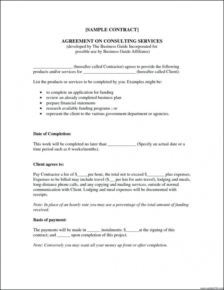 000 Simple Consulting Service Agreement Template Photo  Master Contract Example Level Sample