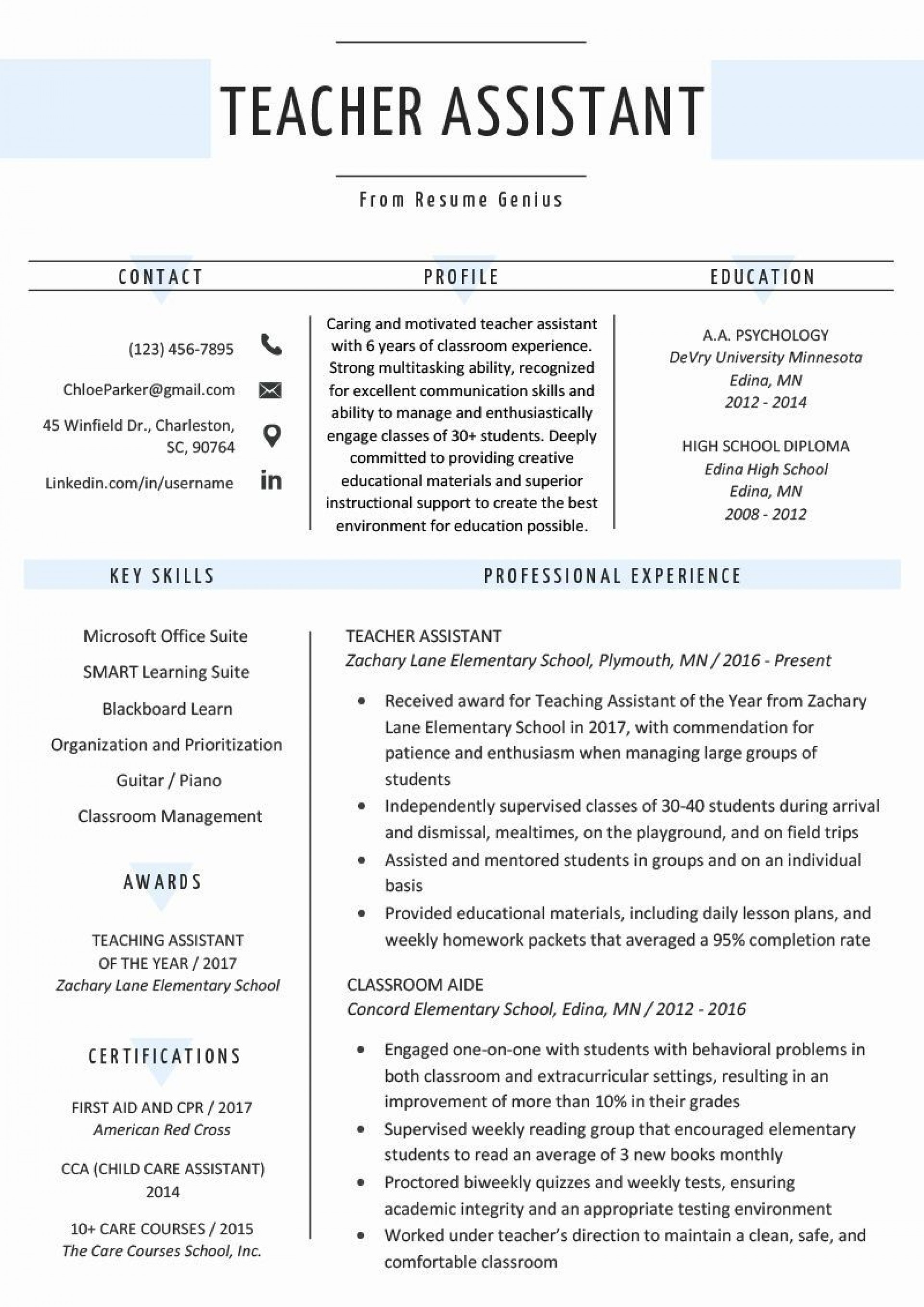 000 Simple Cv Template For Teaching Concept  Sample Teacher Assistant Modern Word Free Download Job1920
