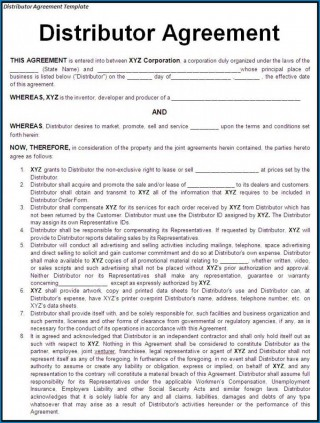000 Simple Distribution Agreement Template Word Image  Distributor Exclusive Contract320