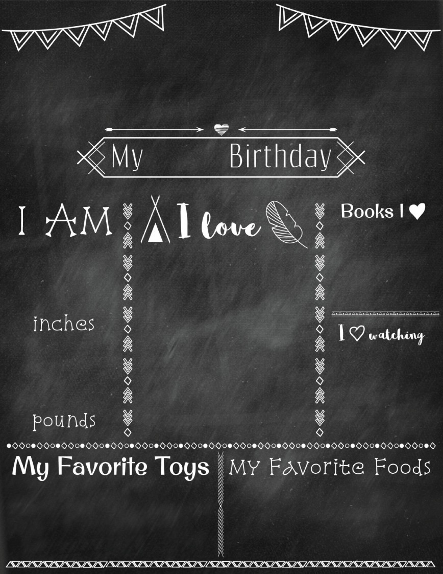000 Simple First Birthday Chalkboard Template Idea  Diy Printable 1st Poster