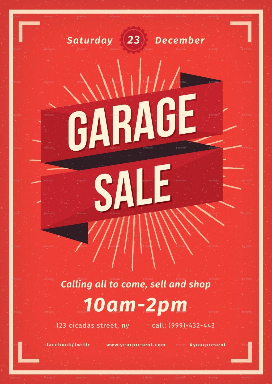 000 Simple Garage Sale Flyer Template Free High Def  Community Neighborhood YardLarge