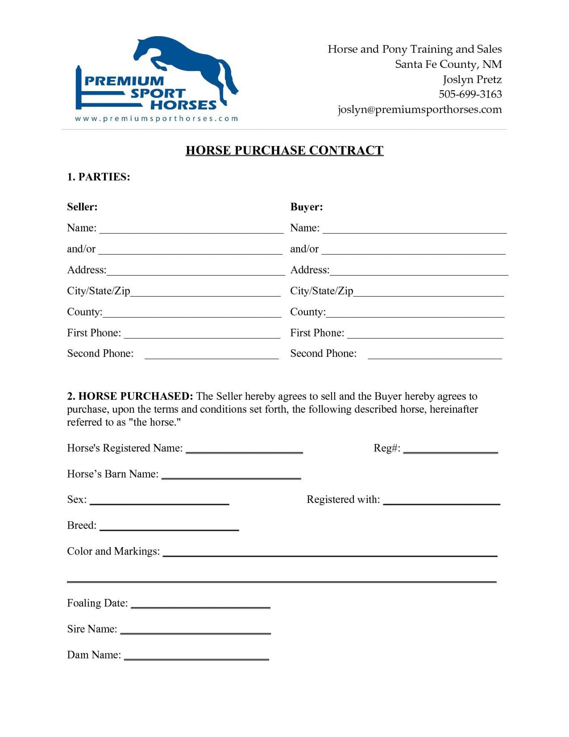 000 Simple Horse Bill Of Sale Template Design  Australia Agreement1920
