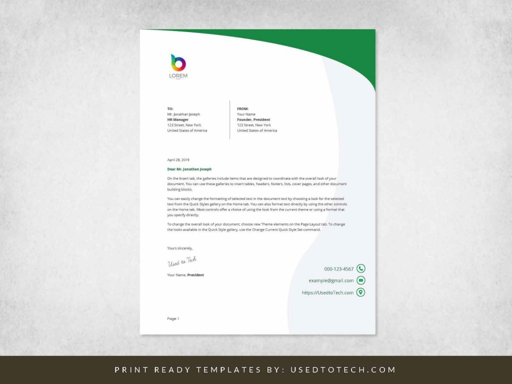 000 Simple Letterhead Format In M Word Free Download Photo Large