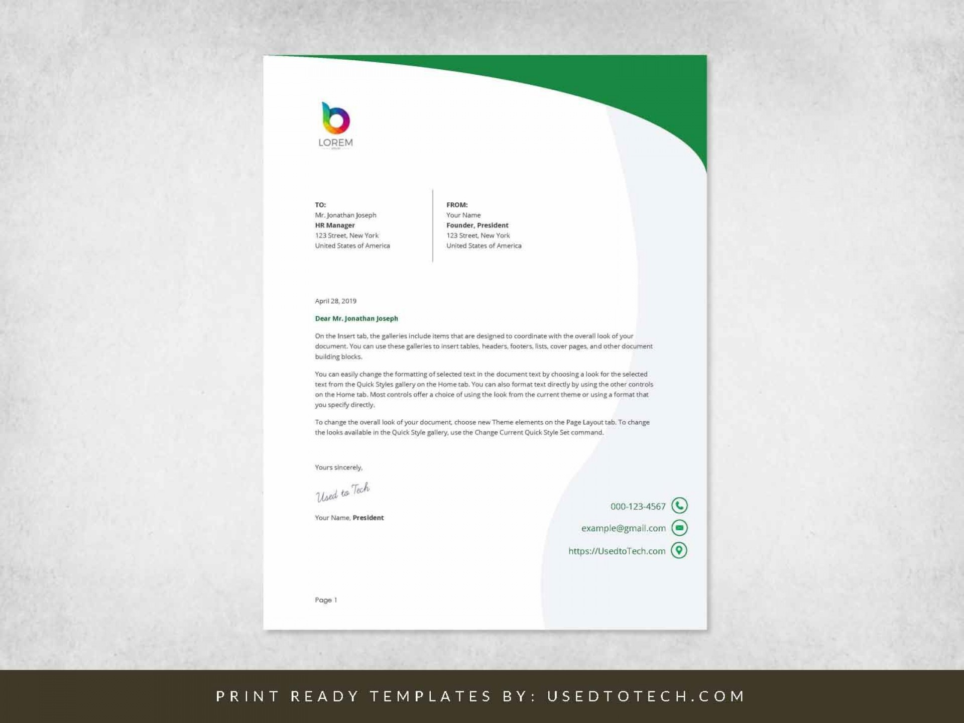 000 Simple Letterhead Format In M Word Free Download Photo 1920