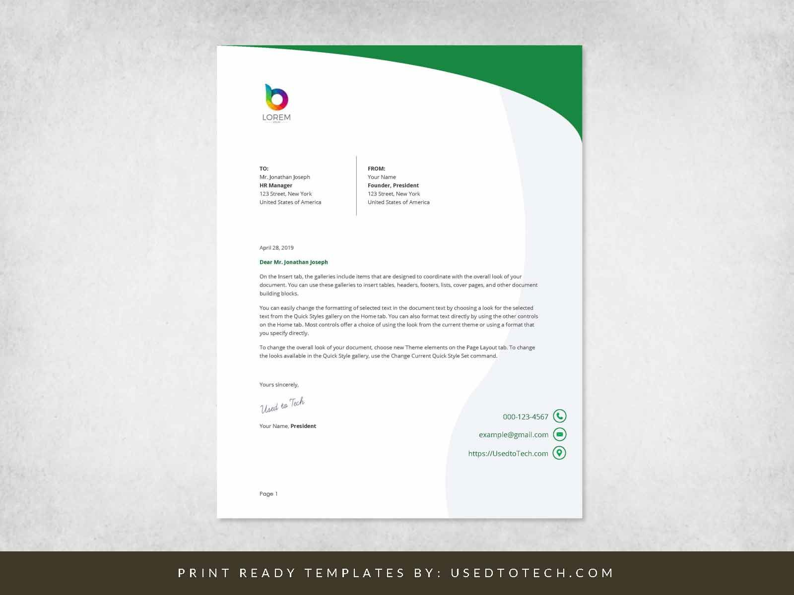 000 Simple Letterhead Format In M Word Free Download Photo Full