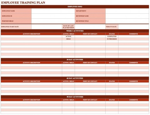 000 Simple New Employee Training Plan Template Idea  Excel Free Download Program480