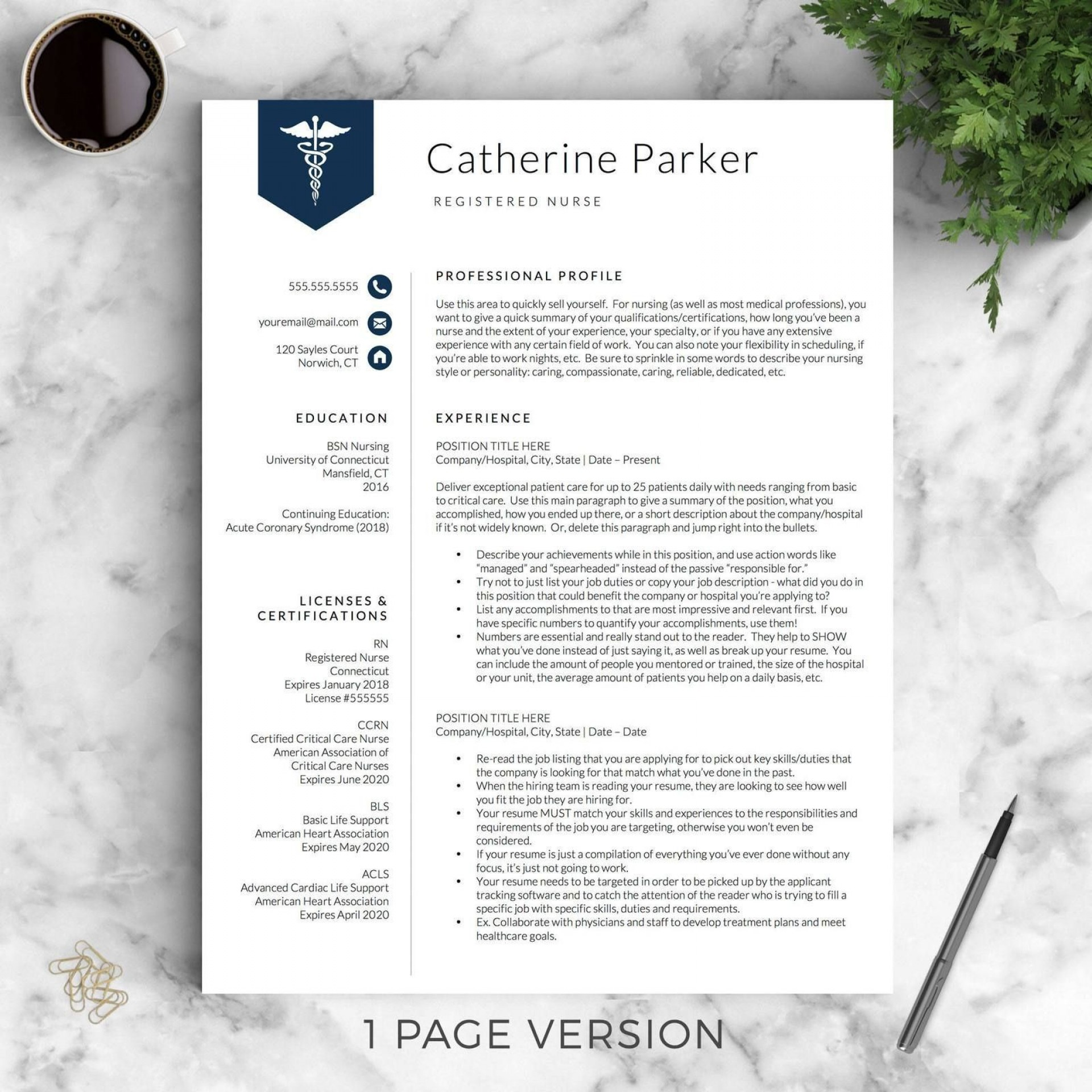 000 Simple Nurse Resume Template Free High Resolution  Graduate Rn1920