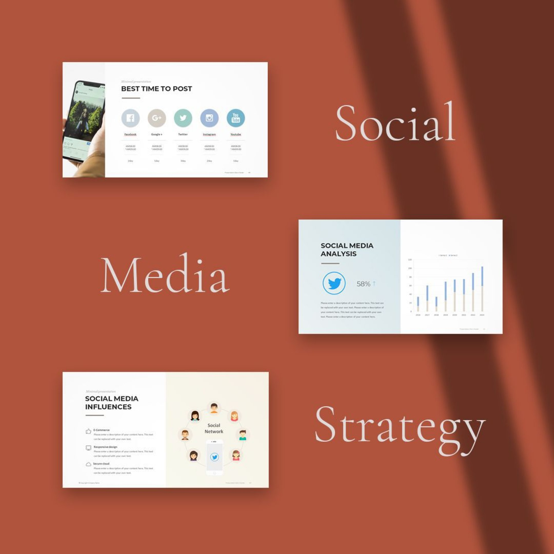 000 Simple Social Media Strategy Powerpoint Template Concept  Marketing Plan Free1920