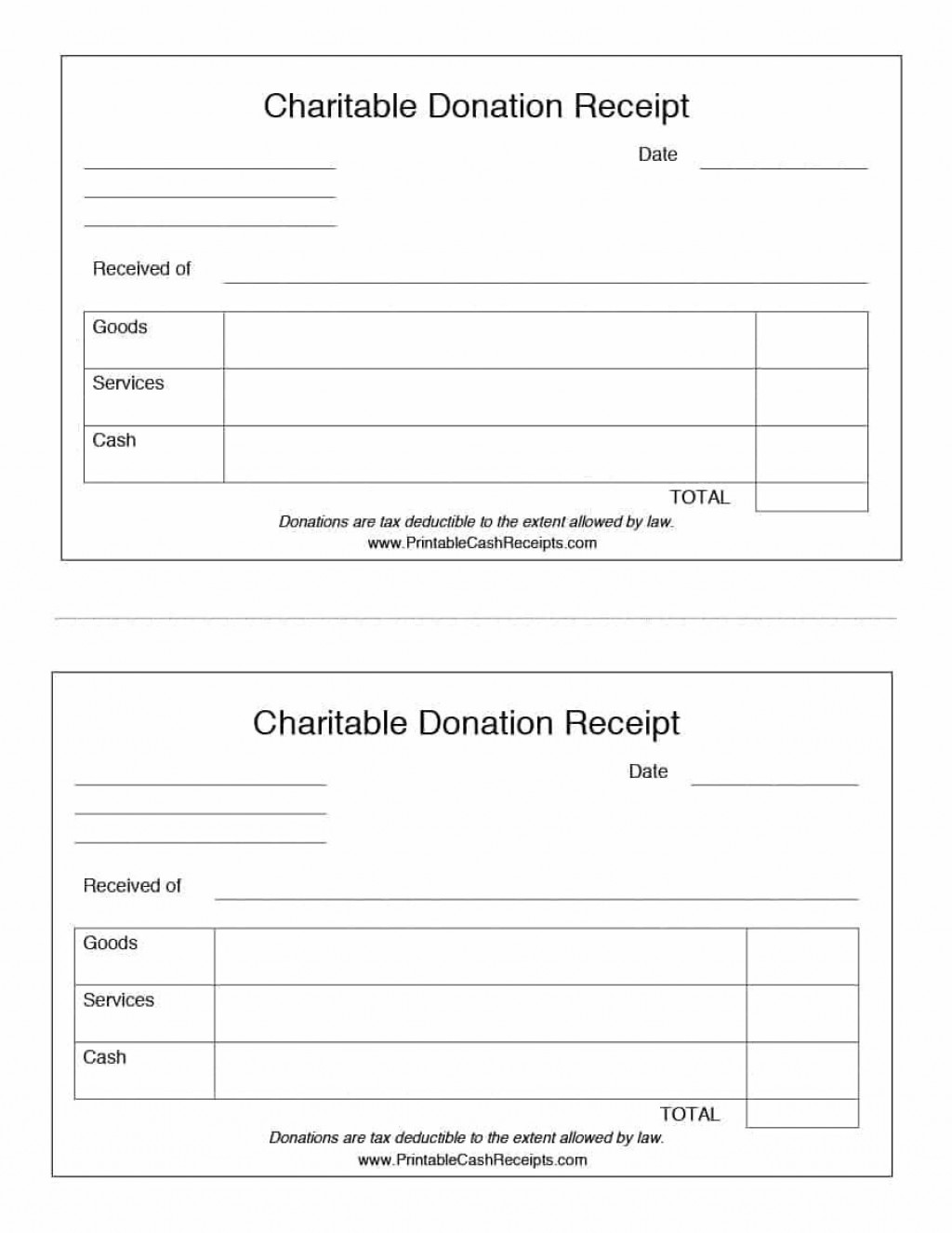 000 Simple Tax Deductible Donation Receipt Printable Example Large