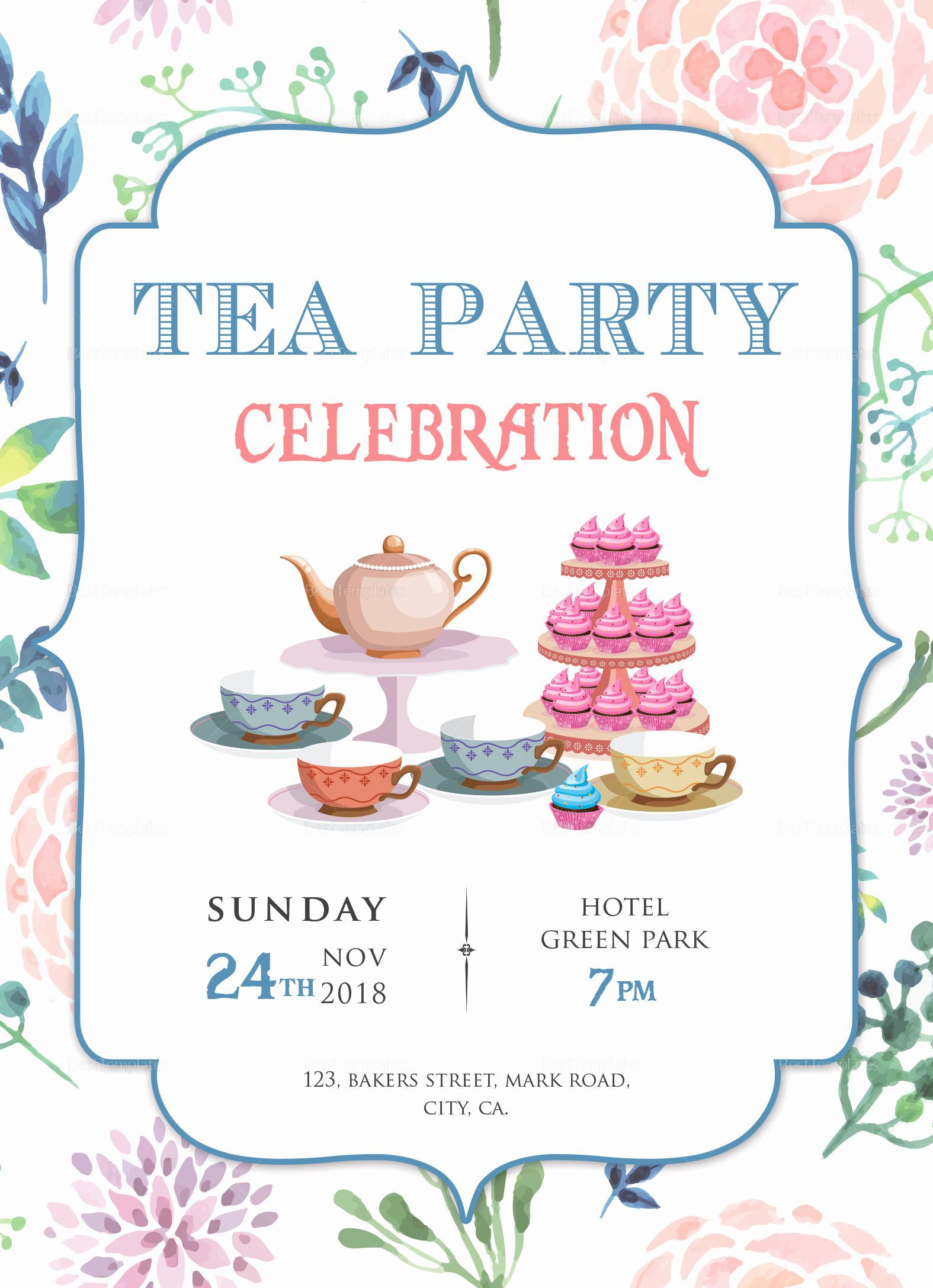 000 Simple Tea Party Invitation Template Sample  Templates High Free Download Bridal ShowerFull