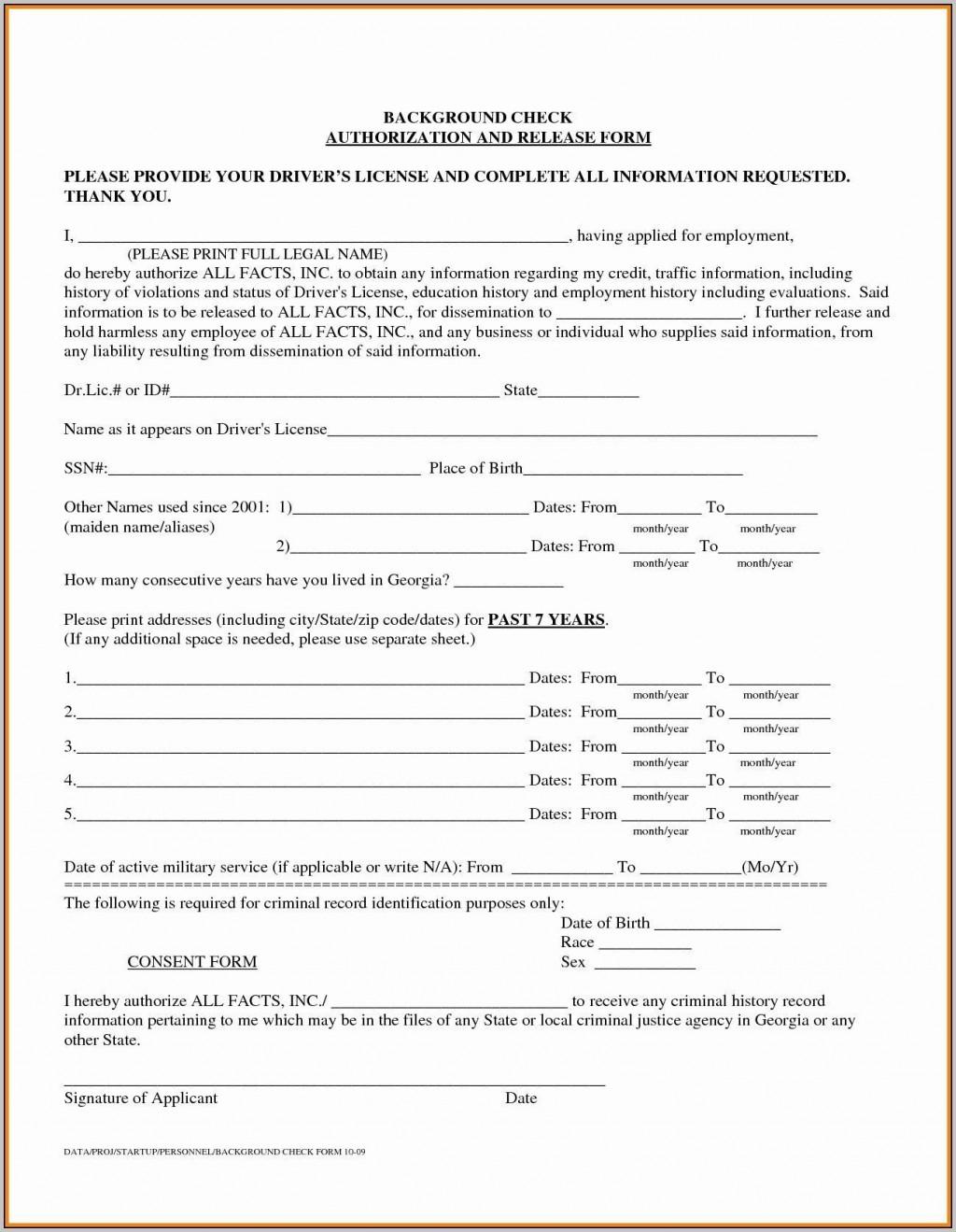 000 Singular Background Check Form Template Free Idea  AuthorizationLarge