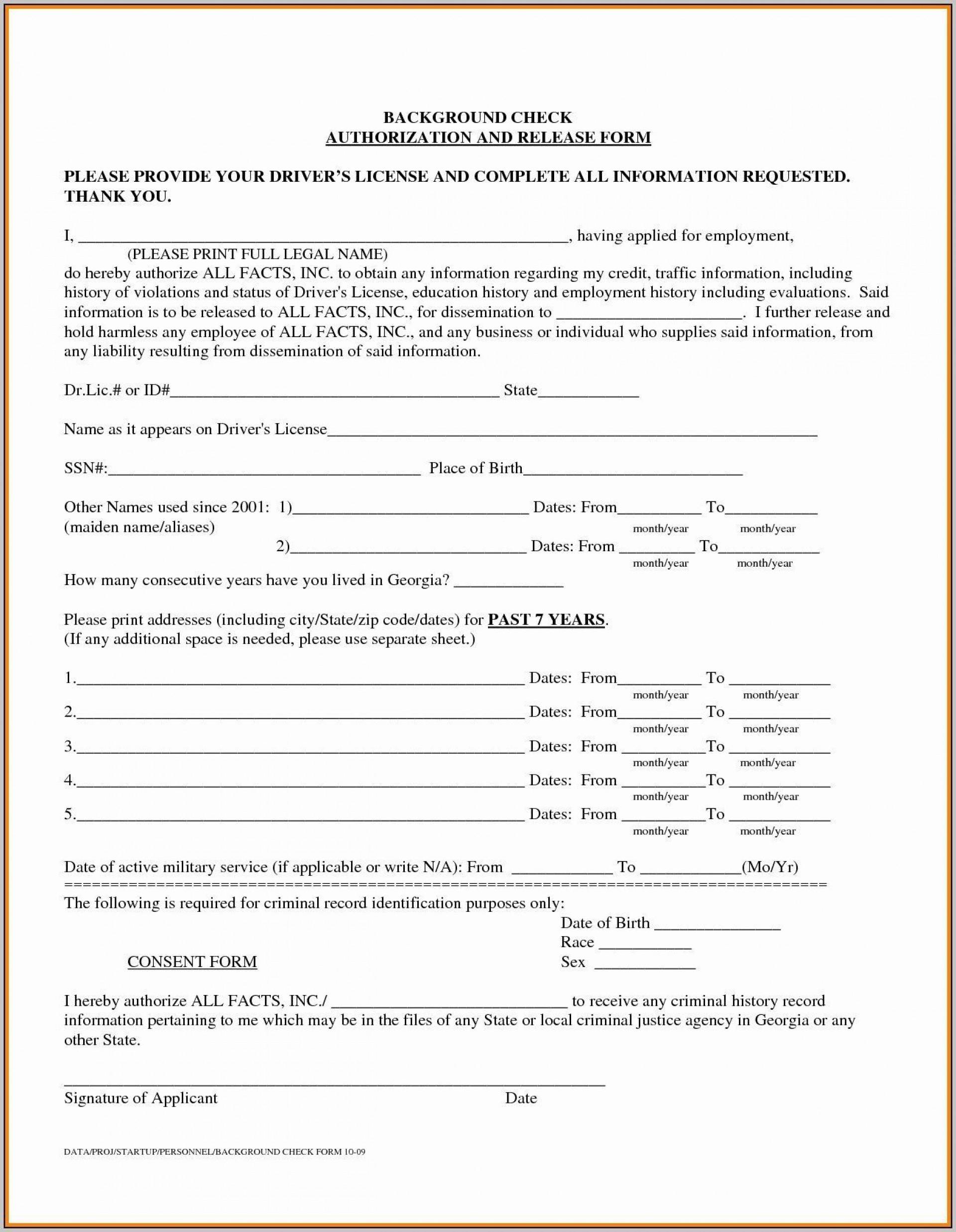 000 Singular Background Check Form Template Free Idea  Authorization1920