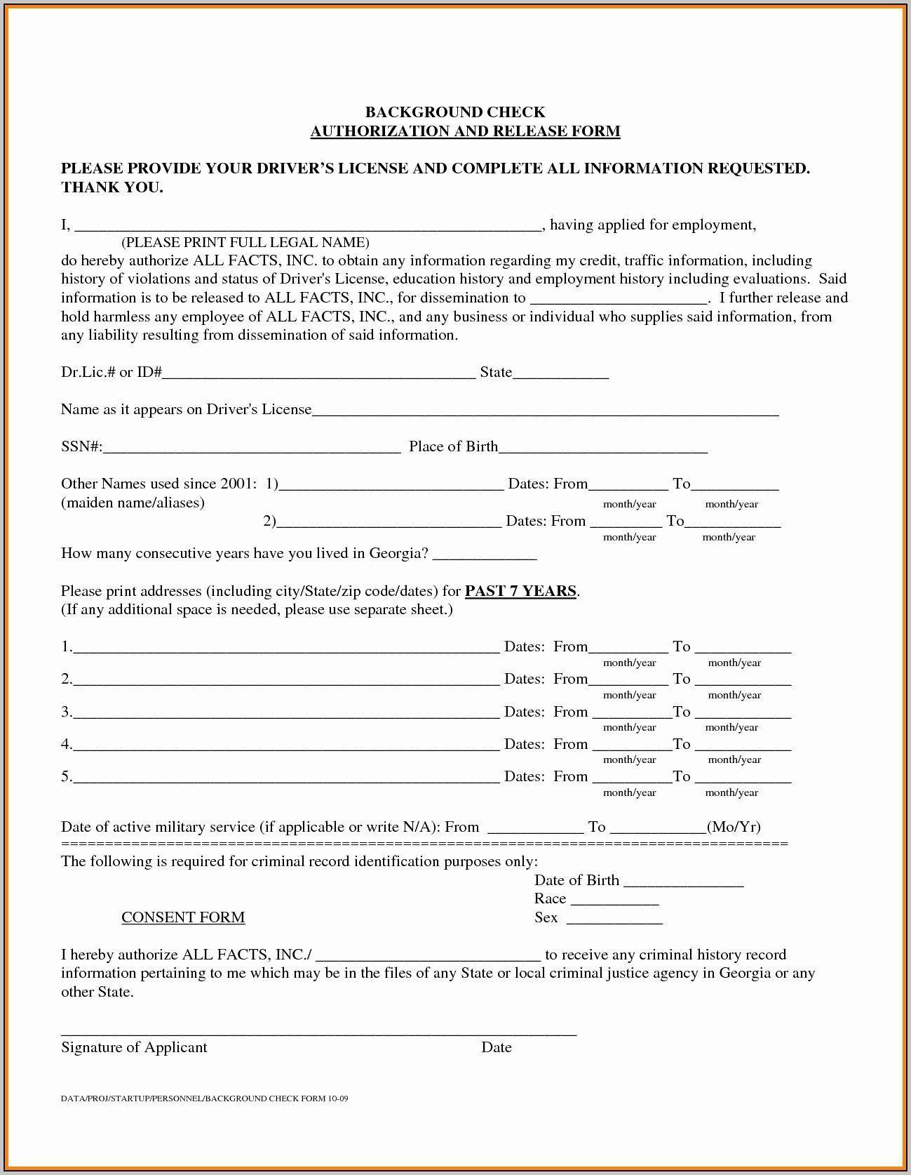 000 Singular Background Check Form Template Free Idea  AuthorizationFull