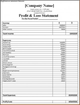 000 Singular Basic Profit And Los Template Highest Clarity  Free Simple Form Statement Excel For Self Employed320