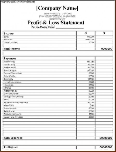 000 Singular Basic Profit And Los Template Highest Clarity  Free Simple Form Statement Excel For Self Employed480