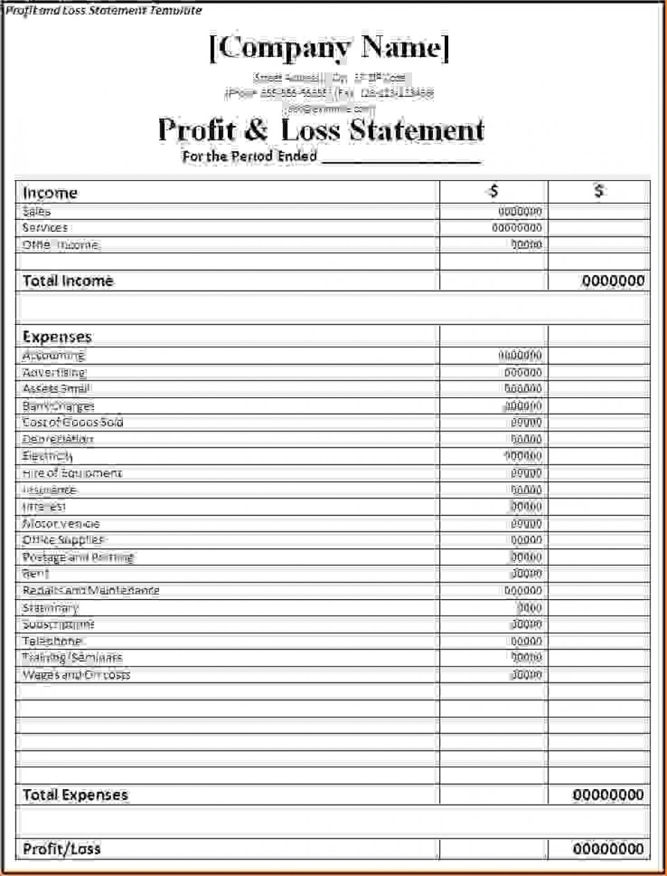 000 Singular Basic Profit And Los Template Highest Clarity  Free Simple Form Statement Excel For Self Employed960