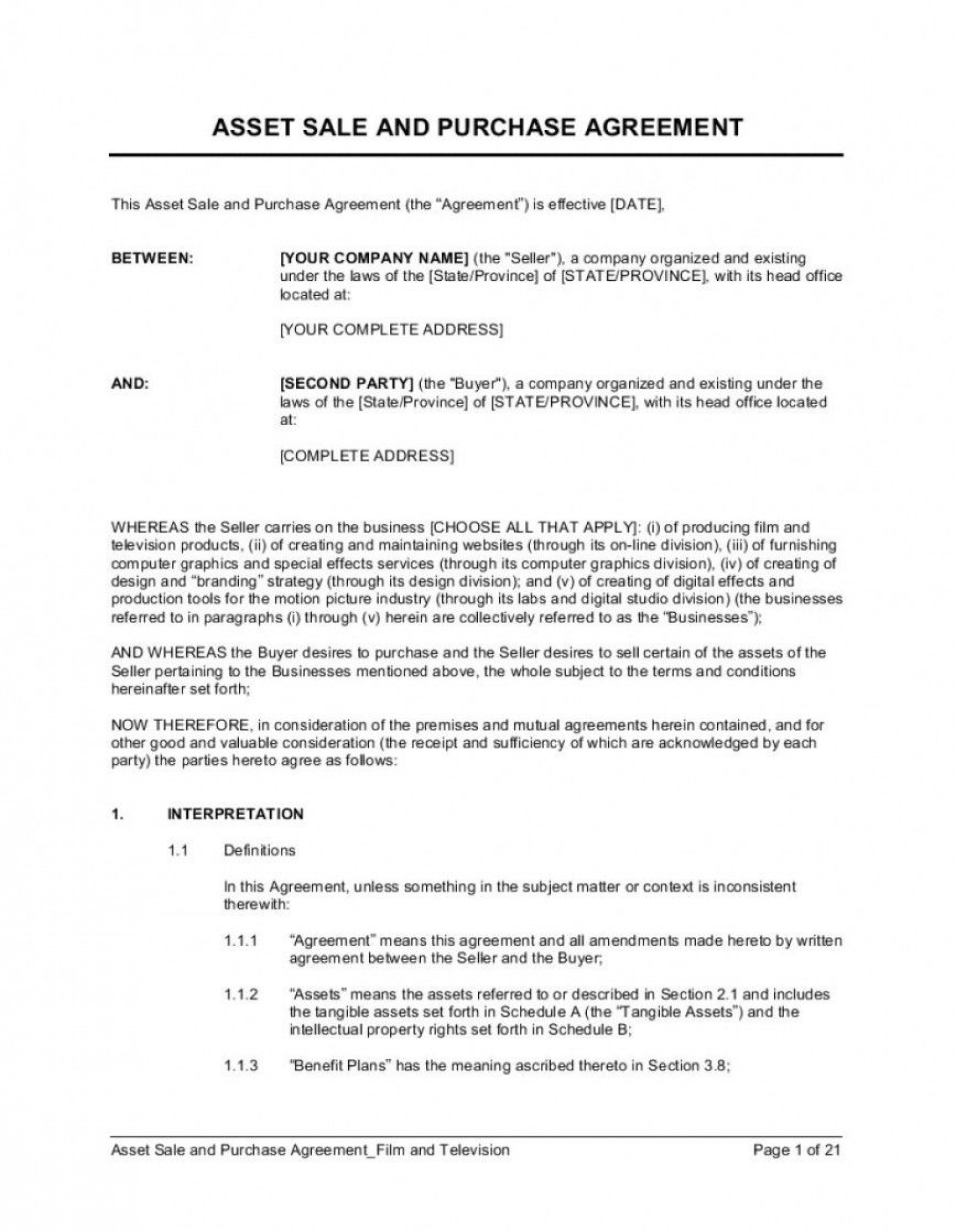 000 Singular Busines Sale Agreement Template Free Download Picture  Uk Nz Simple1920