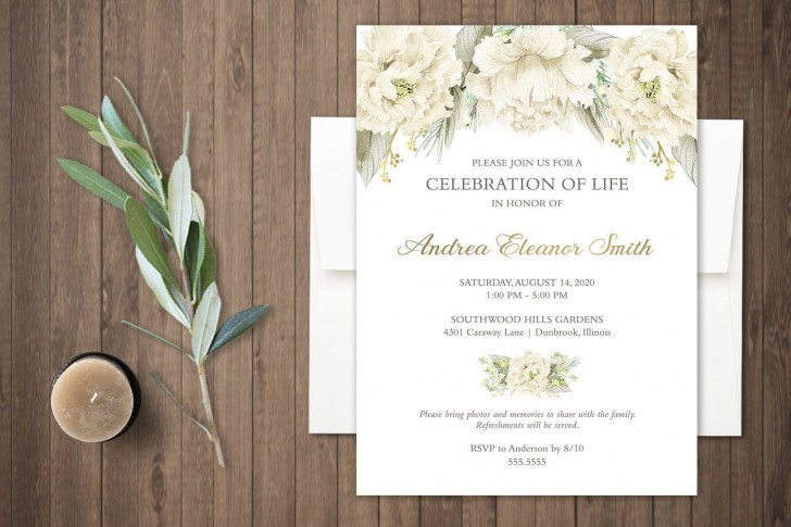 000 Singular Celebration Of Life Invite Template Free High Resolution  Invitation Download728