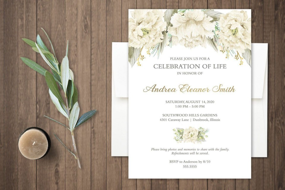 000 Singular Celebration Of Life Invite Template Free High Resolution  Invitation Download960