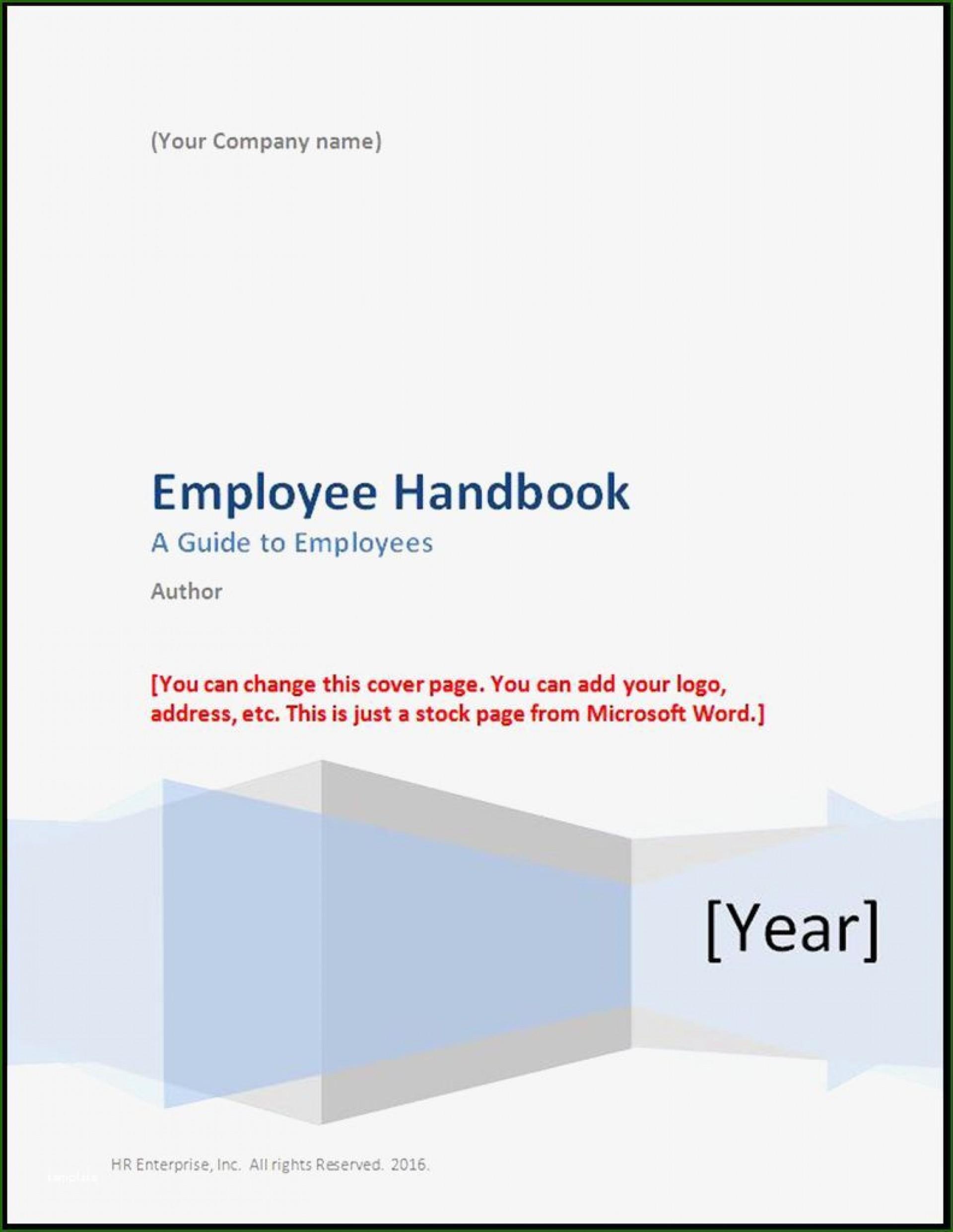 000 Singular Free Employee Handbook Template Word Highest Clarity  Sample In Training Manual1920
