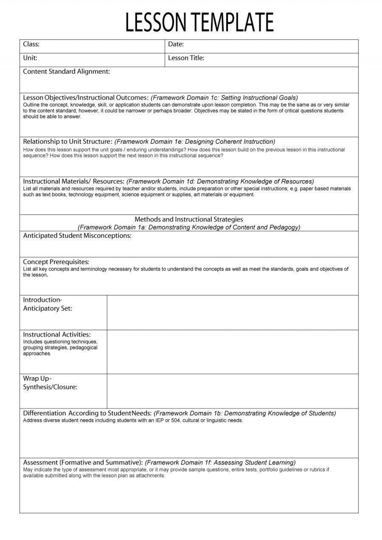 000 Singular Free Lesson Plan Template Word Highest Quality  Preschool Doc1920