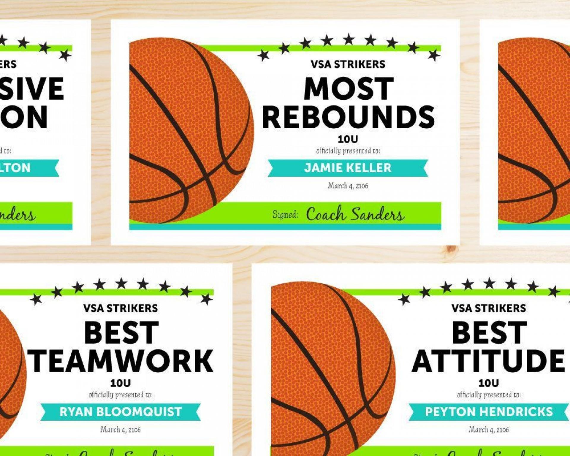 000 Singular Free Printable Basketball Certificate Template High Def  Templates1920