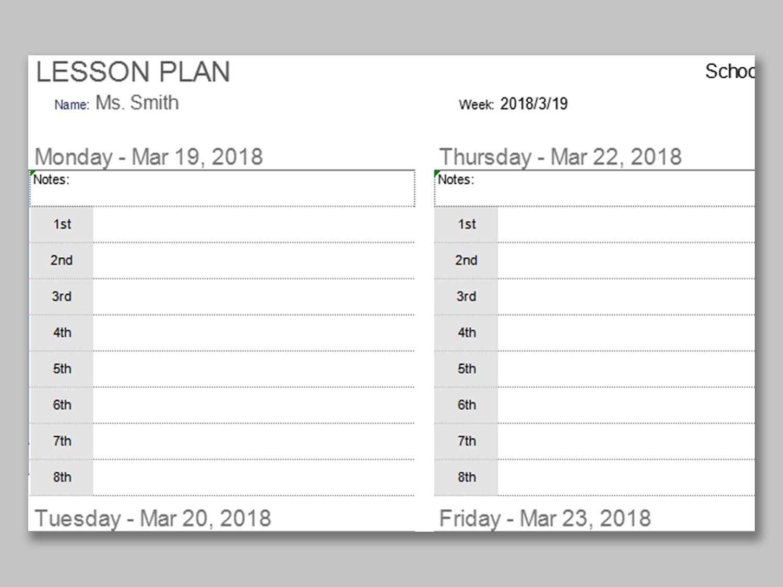 000 Singular Free Printable Lesson Plan Template Blank Image  FormatFull