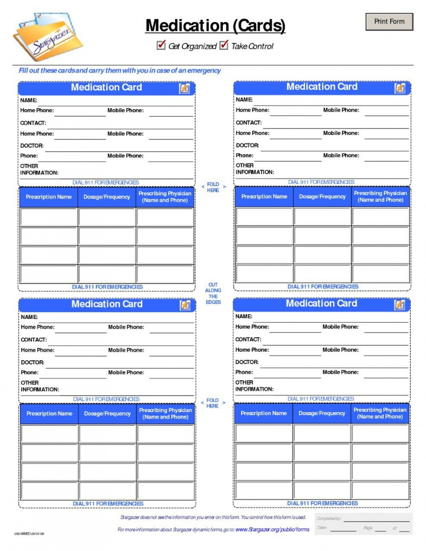 Free Printable Medication List Template Addictionary