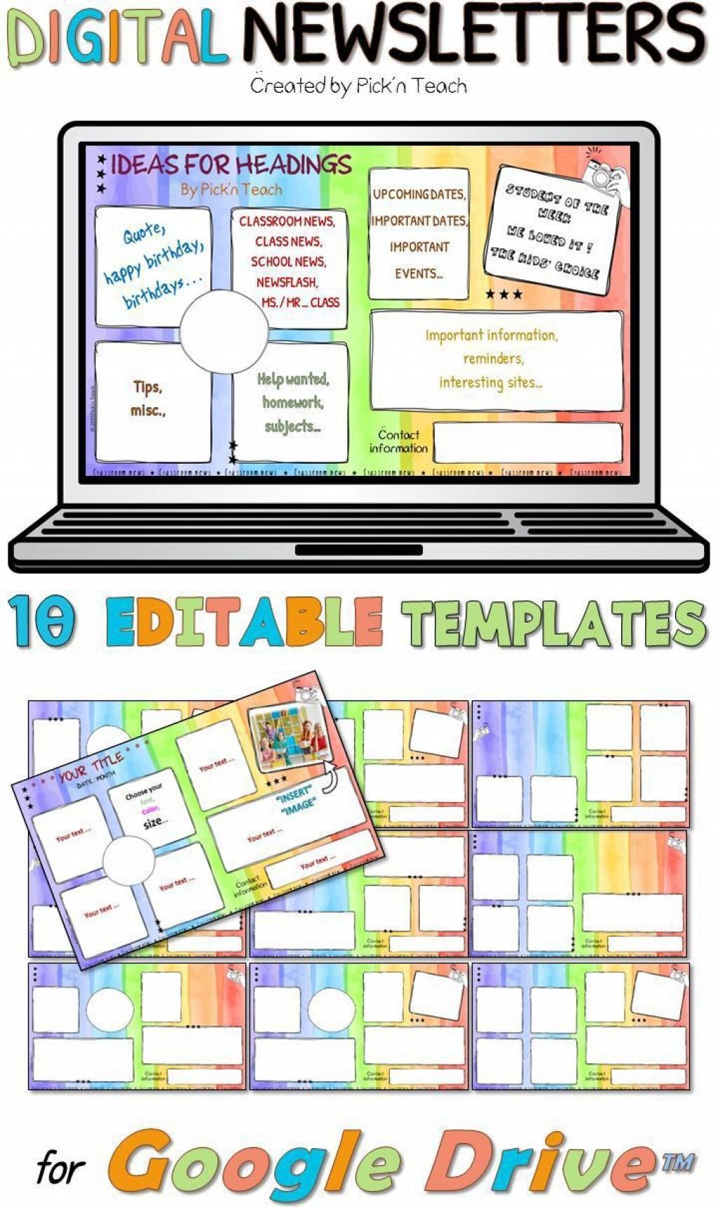 000 Singular Google Newsletter Template For Teacher Idea  Teachers FreeLarge