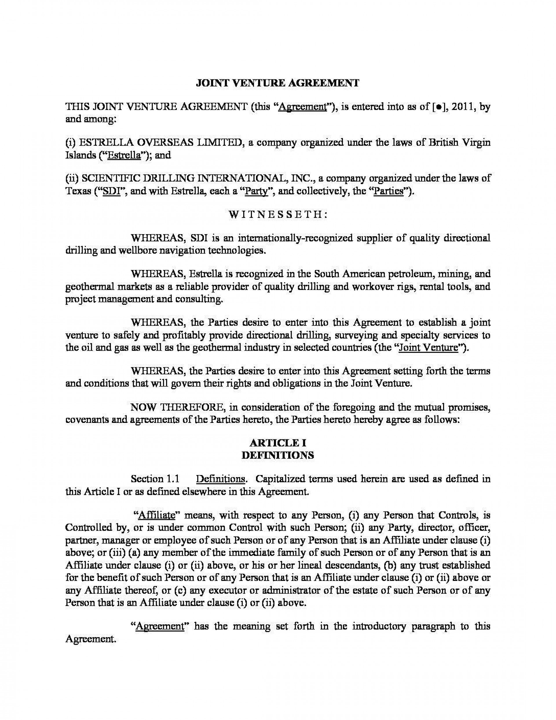 000 Singular Joint Venture Agreement Template Doc Picture  Uk1920