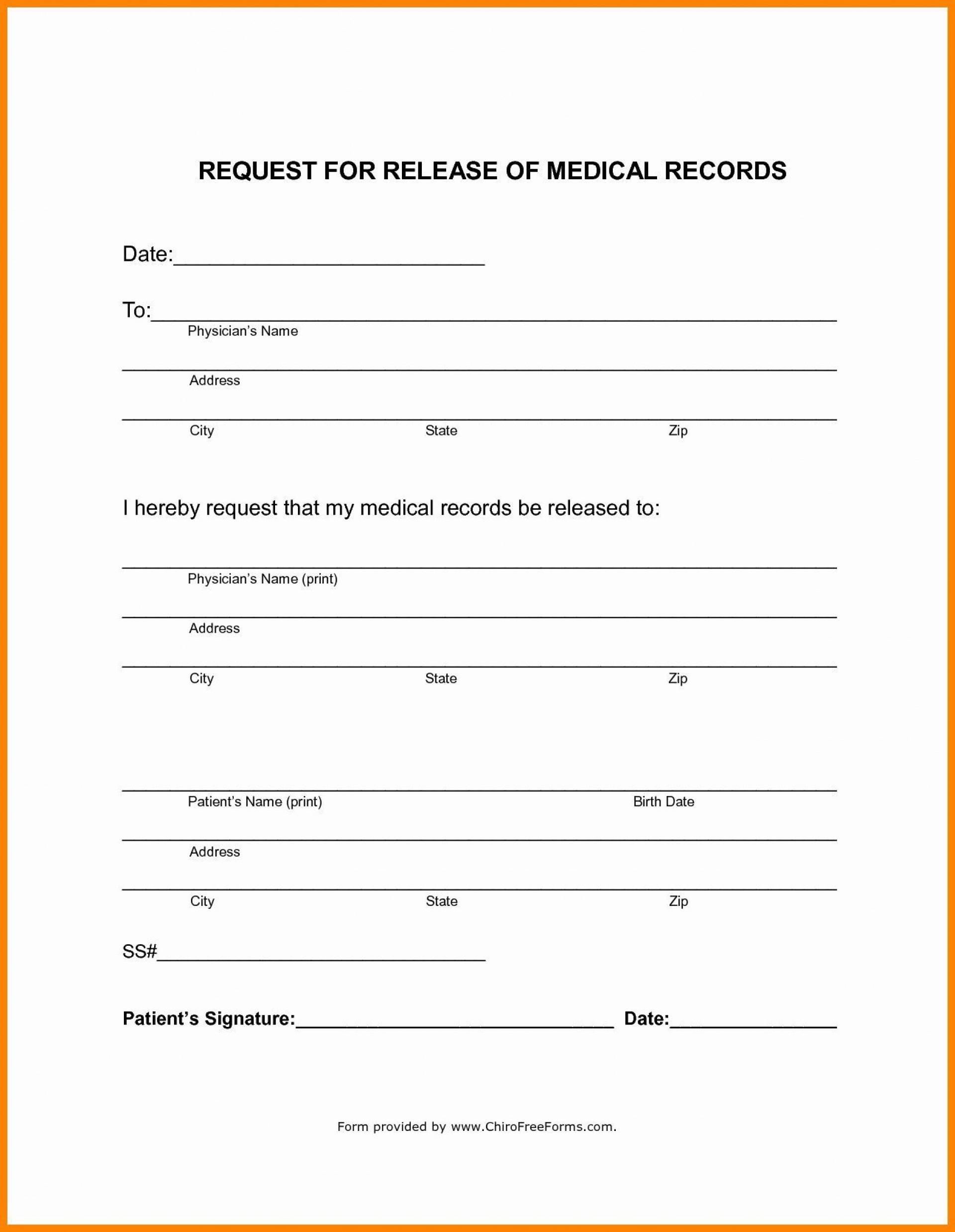 000 Singular Medical Record Request Form Template Concept  Free Release Authorization1920
