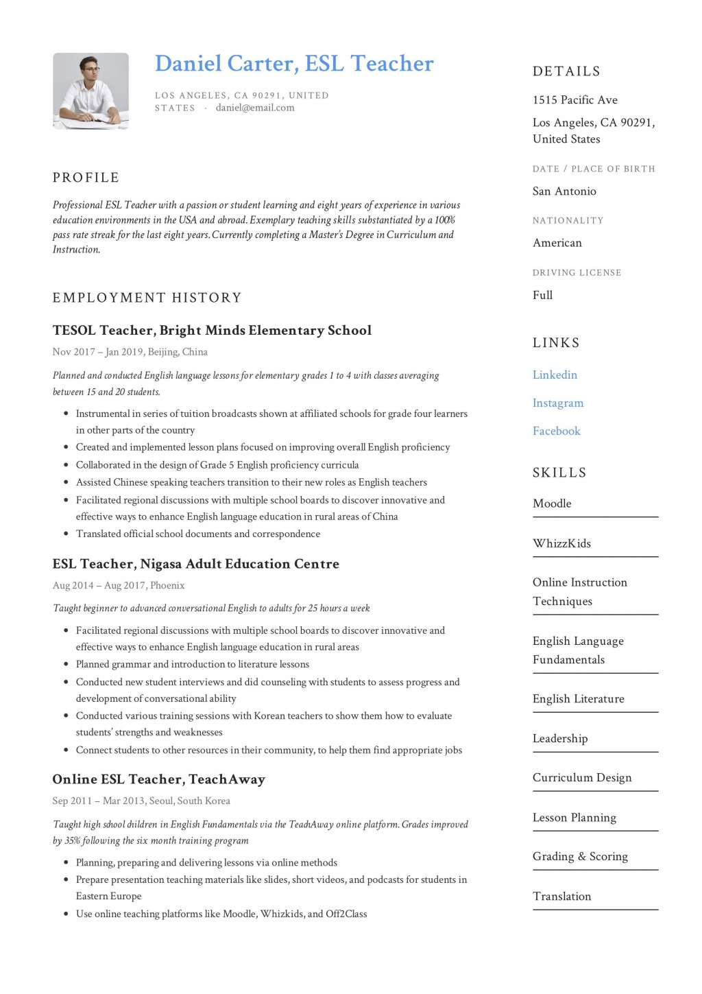 000 Singular Resume Example For Teaching Image  Sample Position In College Teacher School Principal IndiaLarge