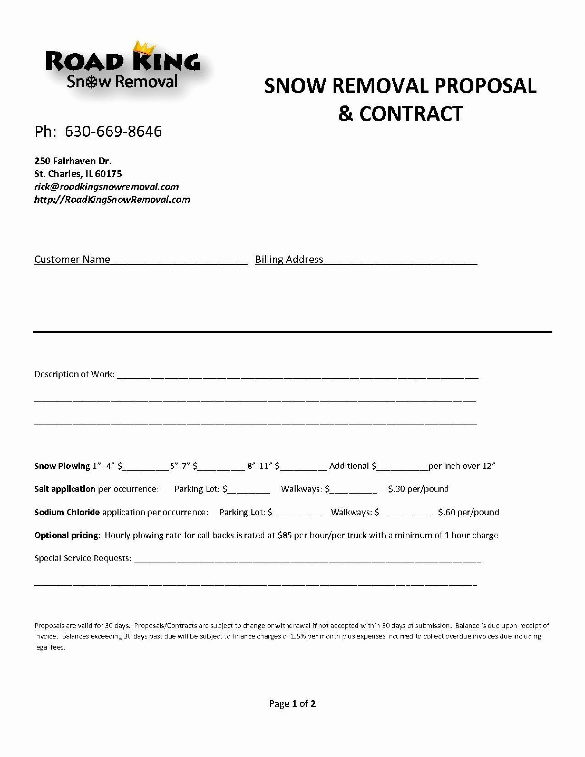 000 Singular Snow Removal Contract Template Sample  Templates Free Printable Simple Seasonal Plow Agreement1920