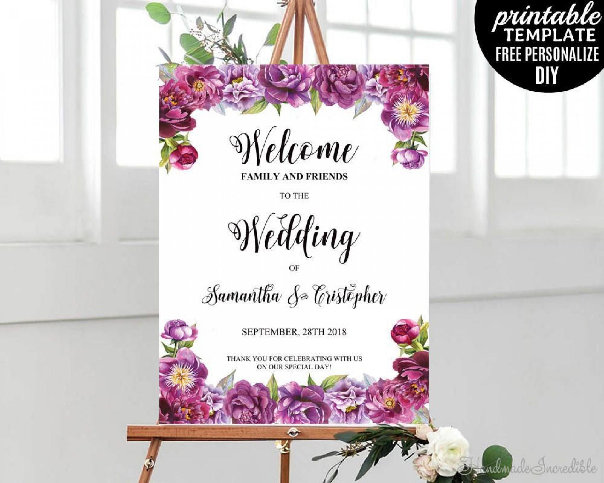 000 Singular Wedding Welcome Sign Template Free Sample 1920