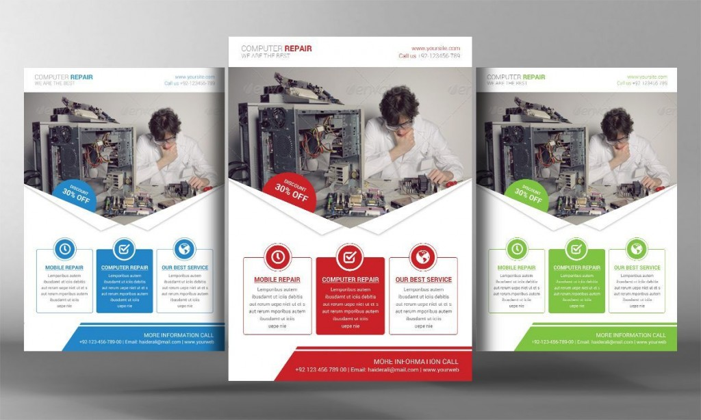000 Staggering Computer Repair Flyer Template Concept  Word Busines FreeLarge