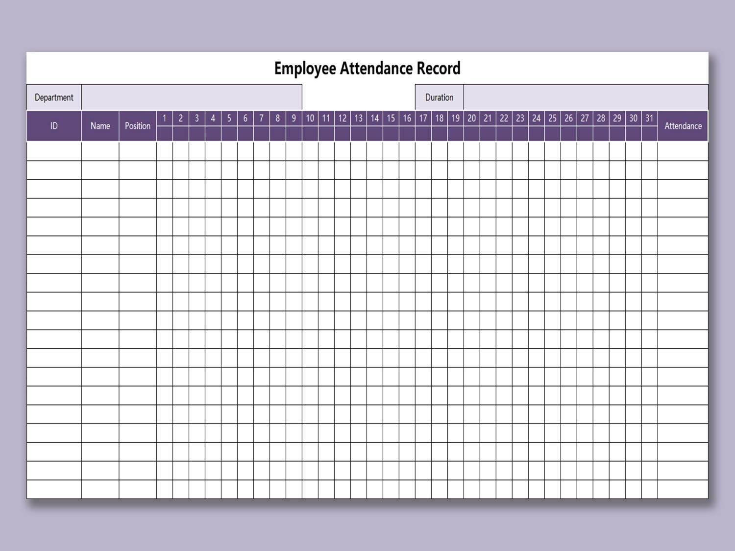 000 Staggering Employee Attendance Record Template Excel Picture  Free Download With TimeFull