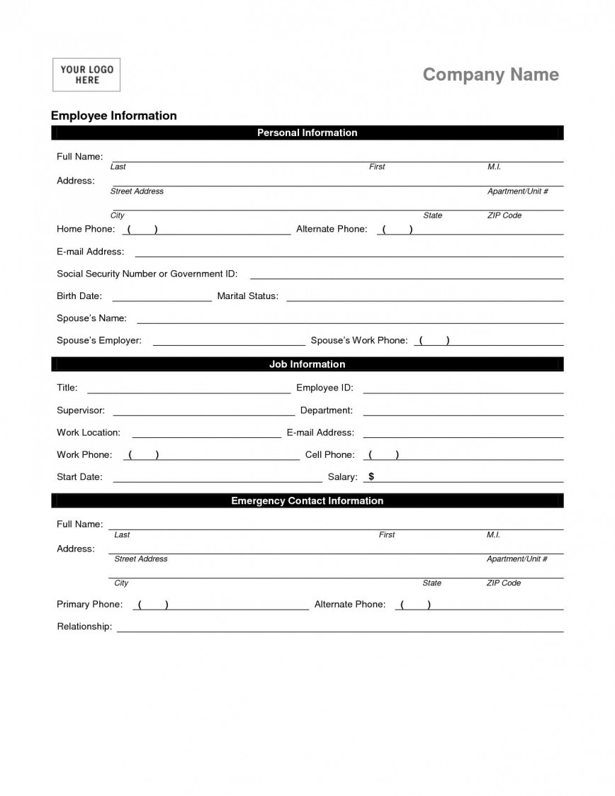 Employment Information Form Template Addictionary