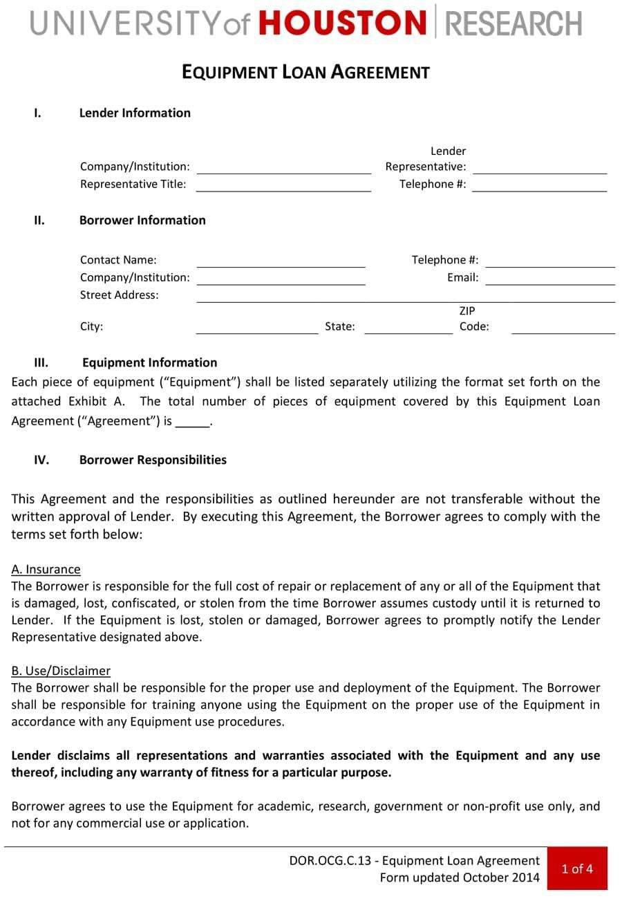 000 Staggering Equipment Loan Agreement Template Highest Quality  Simple Uk Borrowing FreeFull