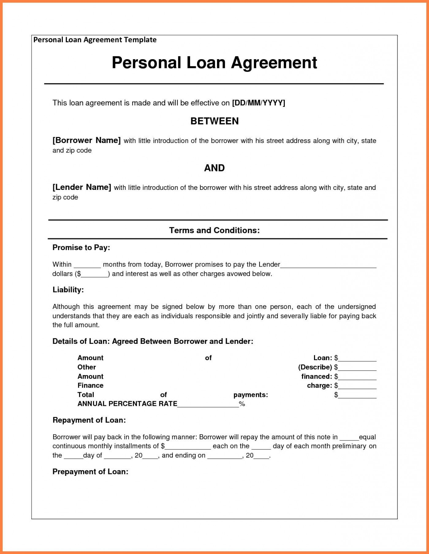 000 Staggering Family Loan Agreement Template Idea  Nz Uk Free1400