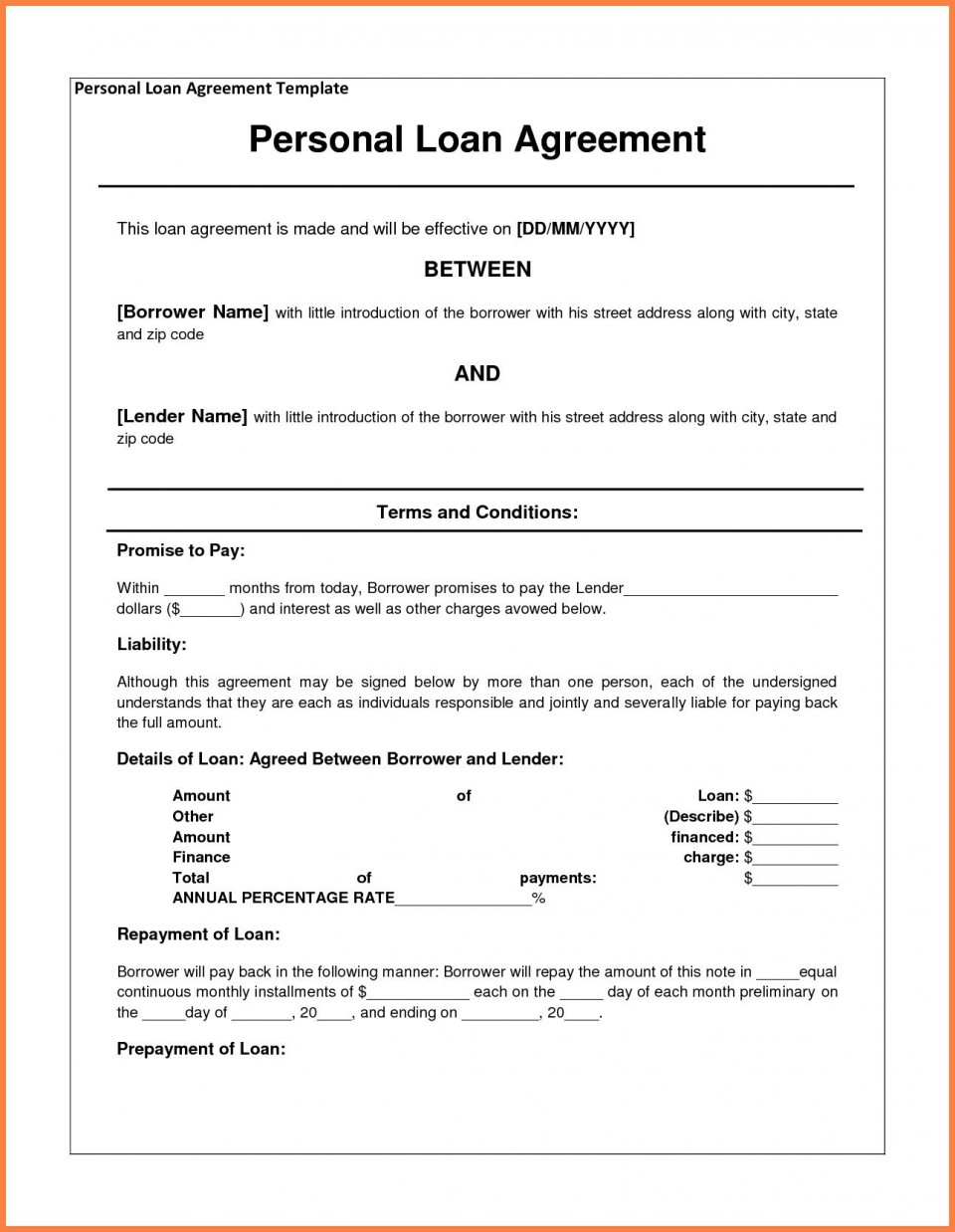 000 Staggering Family Loan Agreement Template Idea  Nz Uk Free960