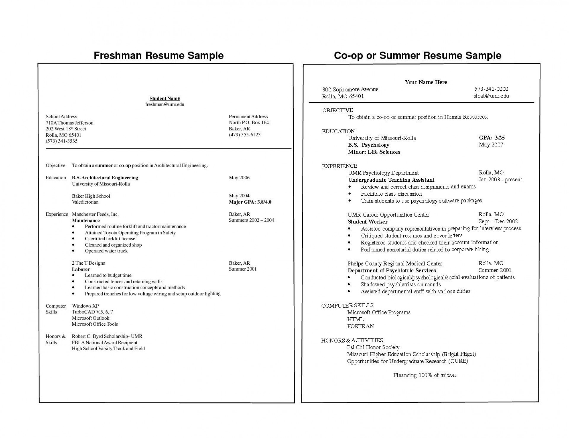 000 Staggering Freshman College Student Resume Template High Def  For With Little Work Experience Free1920