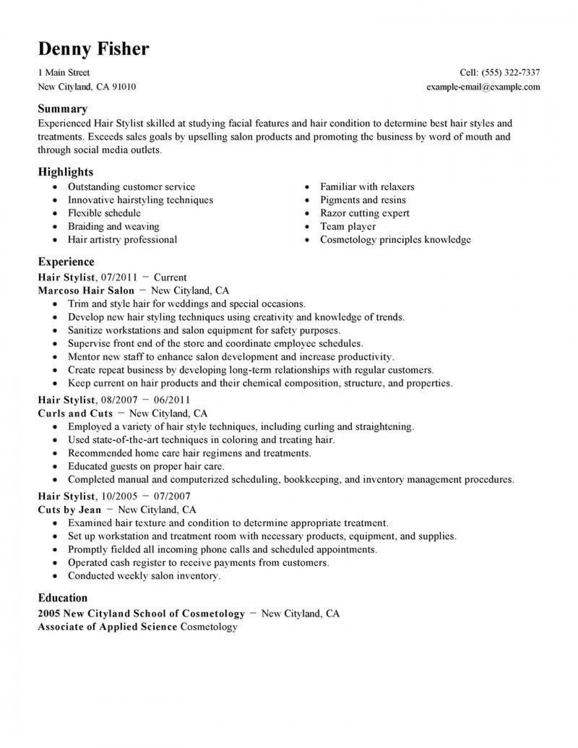 000 Staggering Hair Stylist Resume Template Sample  Word Free Download1920