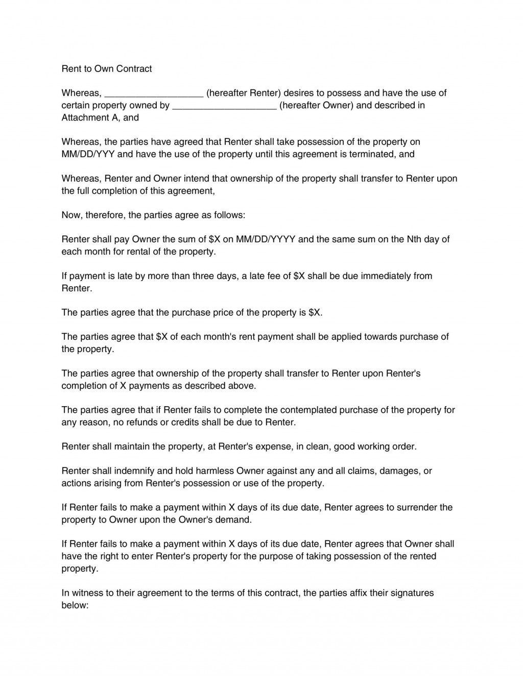000 Staggering Rent To Own Contract Template Pennsylvania Sample Large