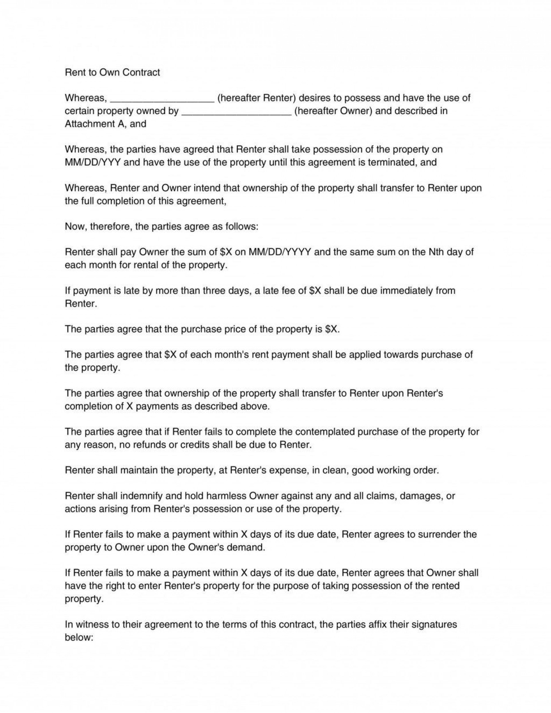 000 Staggering Rent To Own Contract Template Pennsylvania Sample 1920